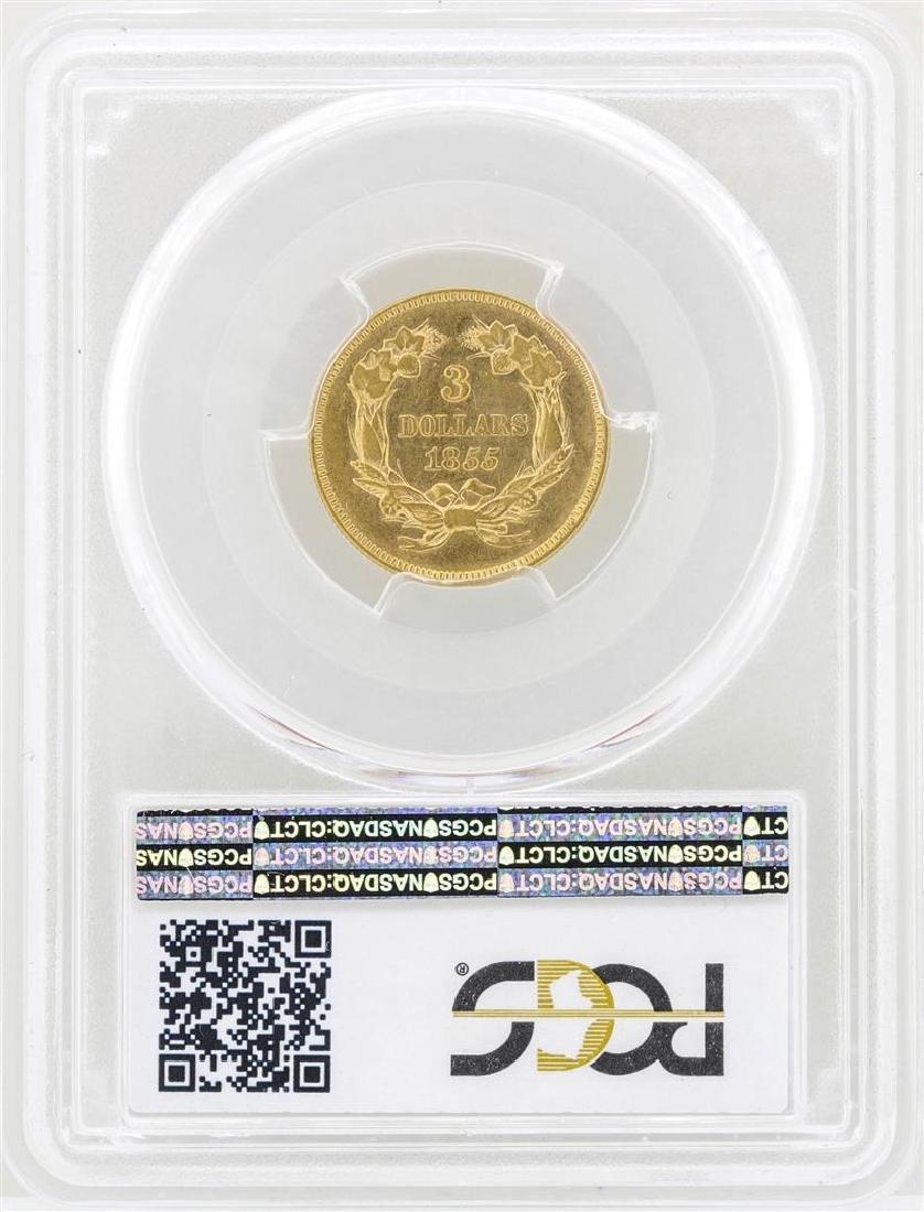 1855 $3 Indian Princess Head Gold Coin PCGS AU55 - 2