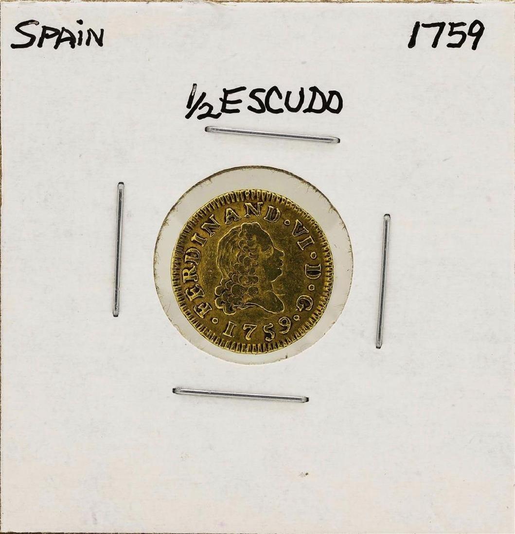 1759 Ferdinand VI Spanish 1/2 Escudos Gold Coin