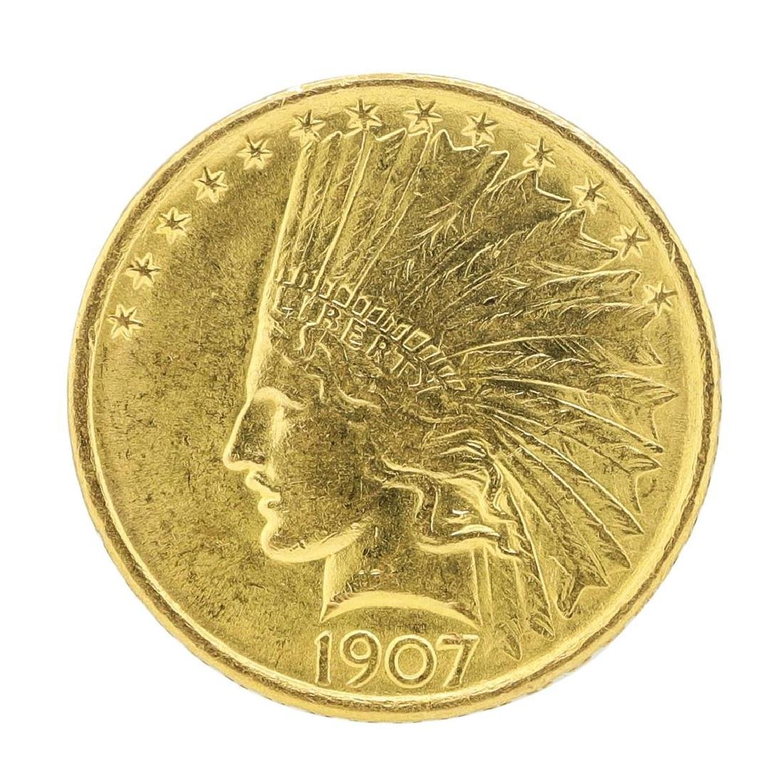 1907 $10 Indian Head Eagle Gold Coin