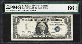 1957A $1 Silver Certificate STAR Note Fr.1620* PMG Gem