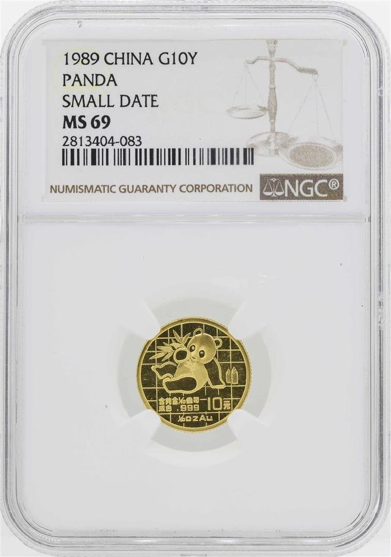 1989 China 10 Yuan 1/10 Oz. Gold Panda Coin NGC MS69