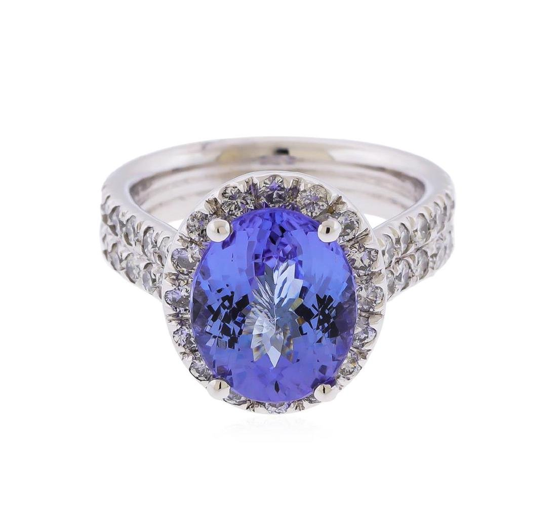 14K White Gold 3.90 ctw Tanzanite and Diamond Ring