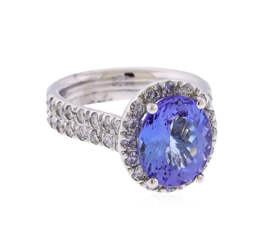 14K White Gold 3.90 ctw Tanzanite and Diamond Ring - 2