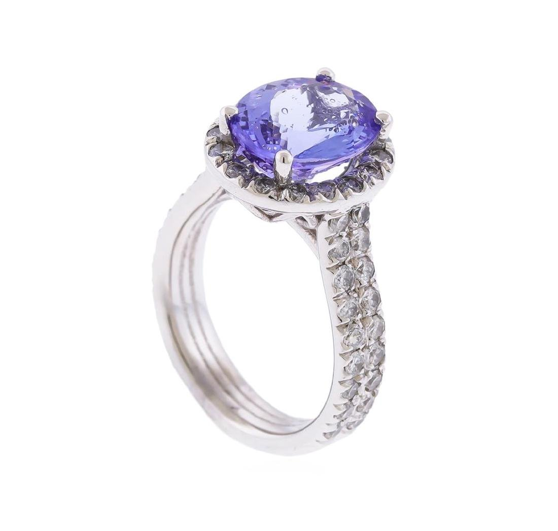 14K White Gold 3.90 ctw Tanzanite and Diamond Ring - 3