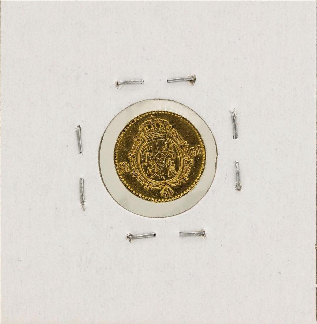 1817 Ferdinand VII Spanish 1/2 Escudos Gold Coin - 2