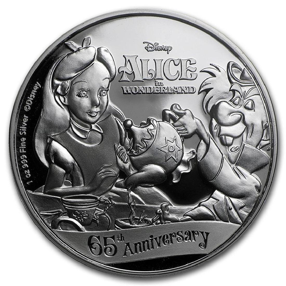 2016 $2 Disney Alice In Wonderland .999 Fine Silver