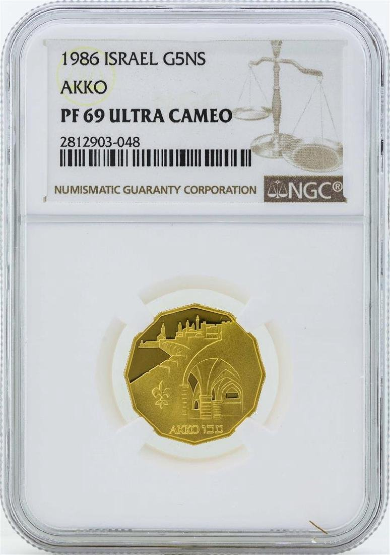 1986 Israel 5 New Sheqalim Gold Proof Coin NGC PF69