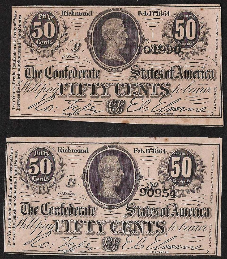 Lot of (2) Fifty Cents Confederate States of America