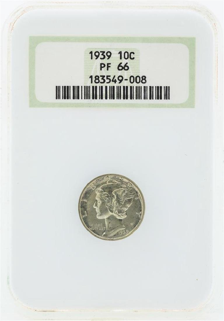1939 Mercury Silver Proof Dime Coin NGC PF66