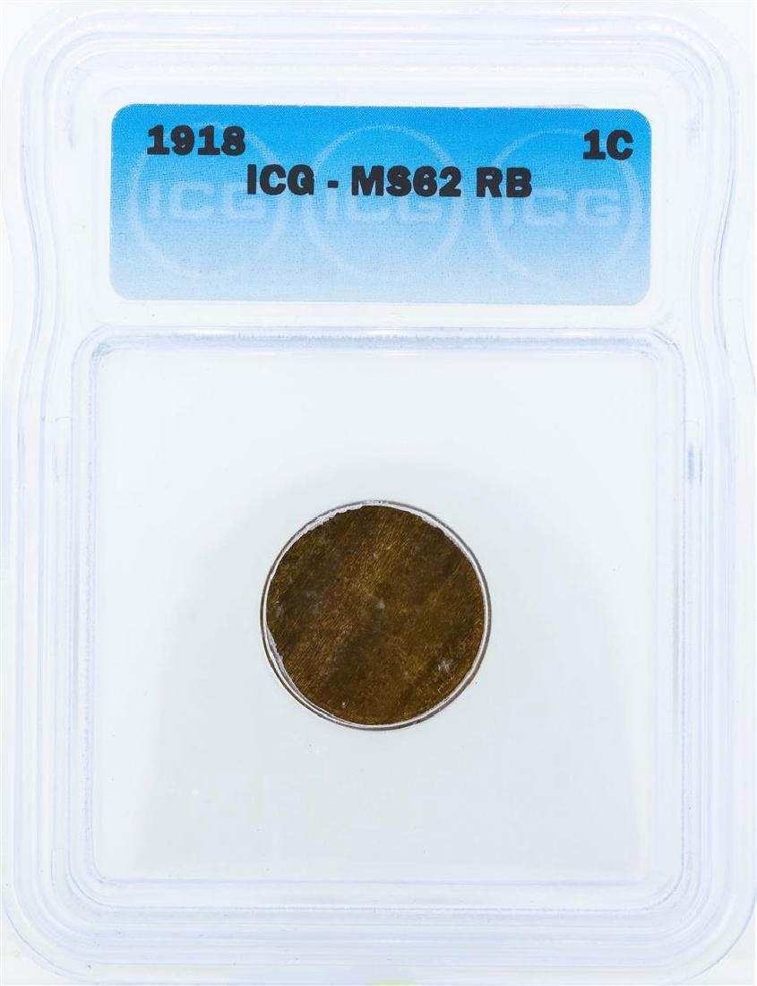 1918 Lincoln Wheat Penny ICG MS62RB