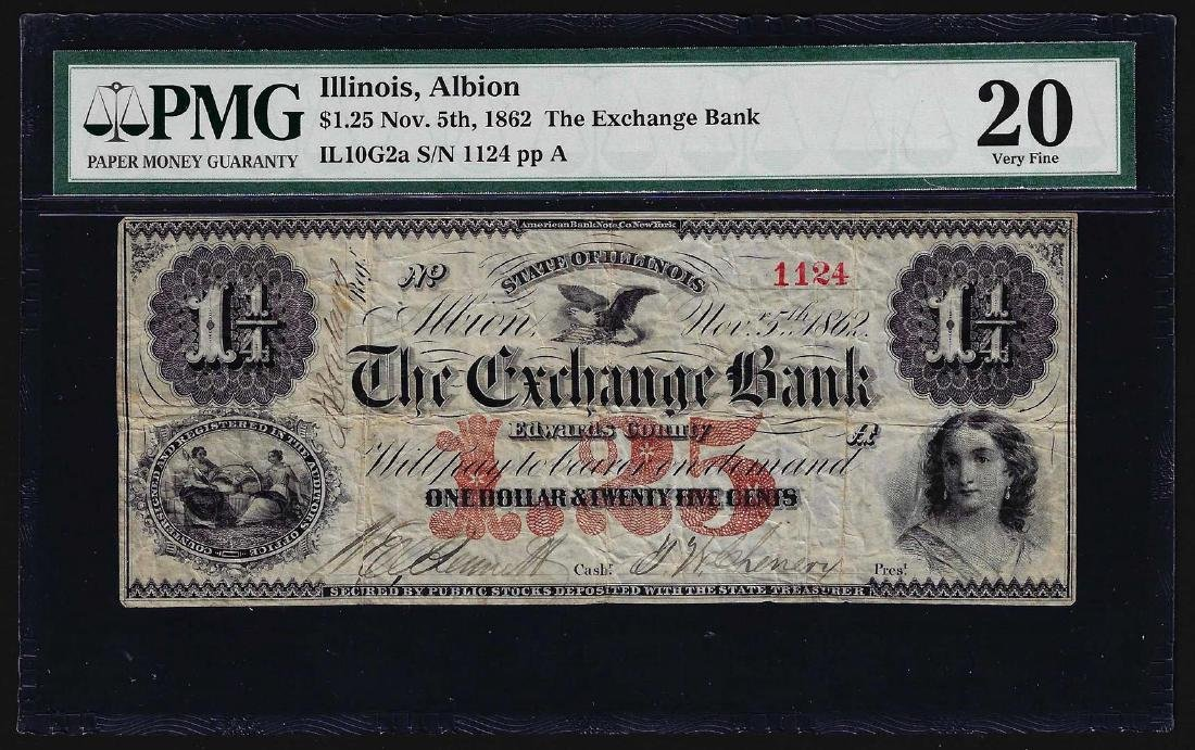November 5th, 1862 $1.25 The Exchange Bank Albion,