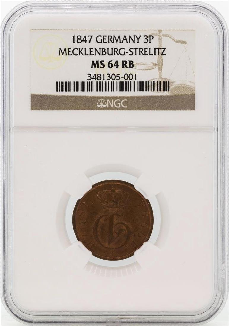 1847 Germany 3 Pfennig Coin NGC MS64RB