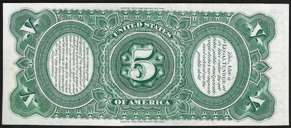 1869 $5 Rainbow Woodchopper Legal Tender Note - 2