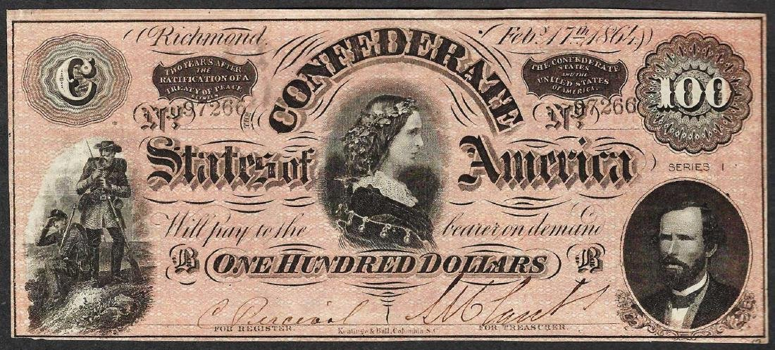 1864 $100 Confederate States of America Note