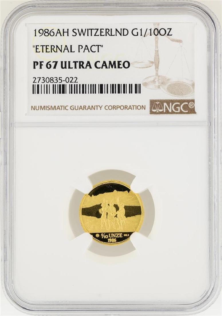 1986-AH Switzerland 1/10 oz Eternal Pact Gold Coin NGC