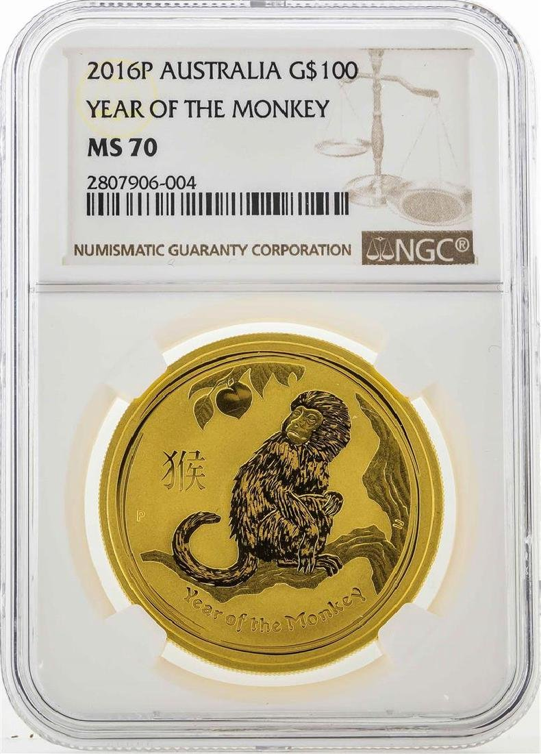 2016P Australia $100 Year of the Monkey Gold Coin NGC