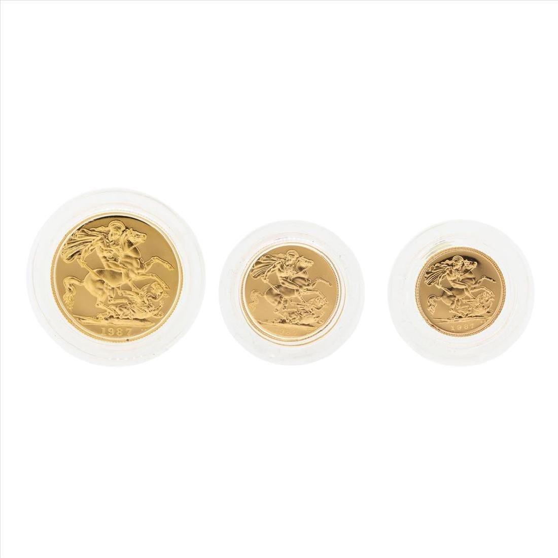 Set of (3) 1987 United Kingdom Gold Proof Coins - 2