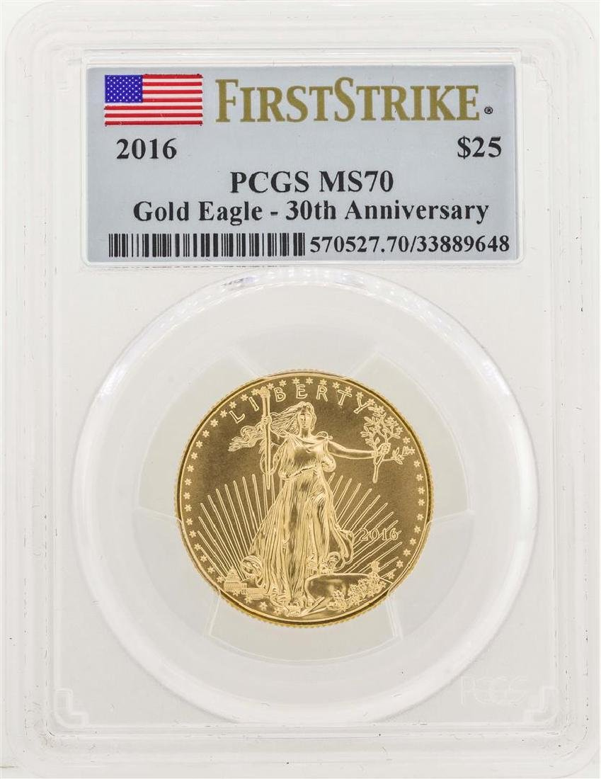 2016 $25 American Gold Eagle Coin PCGS MS70 30th