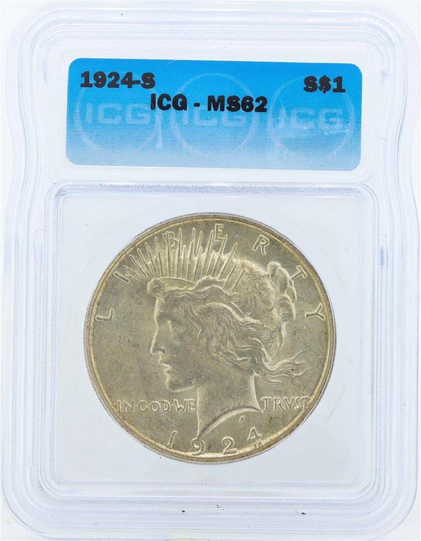 1924-S $1 Peace Silver Dollar Coin ICG MS62