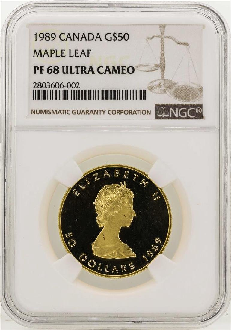 1989 Canada $50 Maple Leaf Gold Coin NGC PF68 Ultra