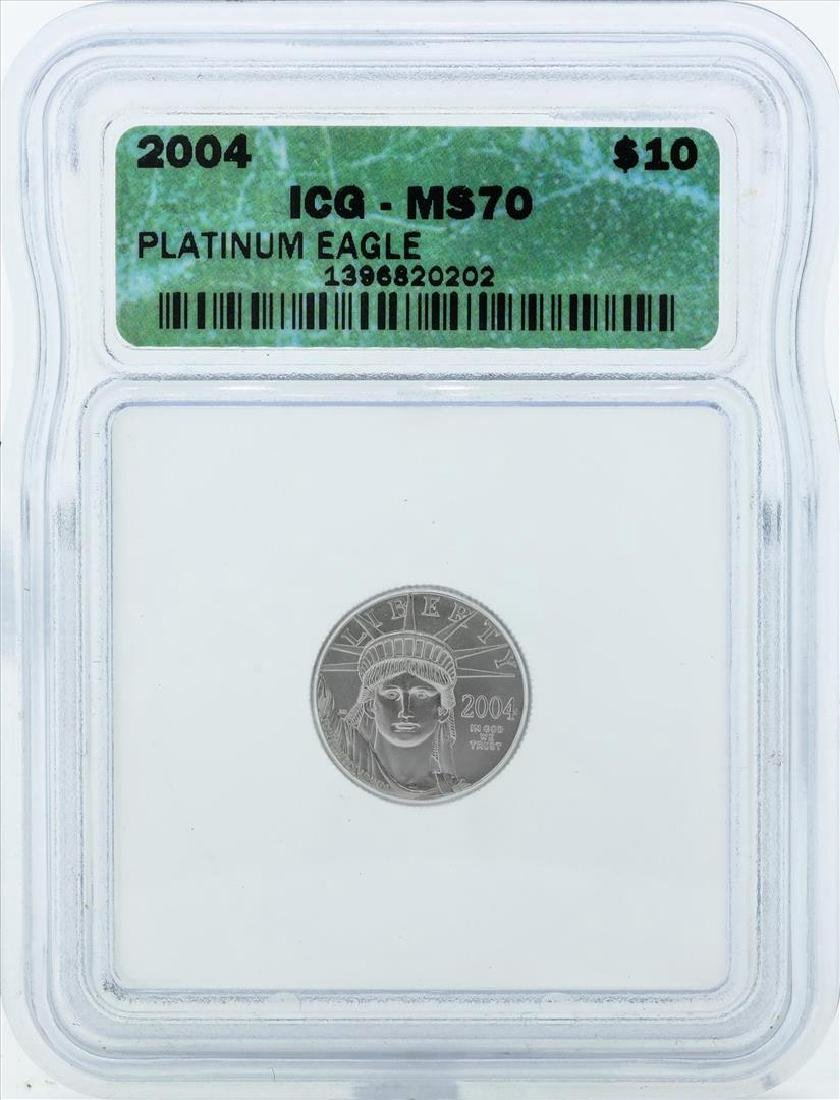 2004 $10 American Platinum Eagle Coin ICG MS70