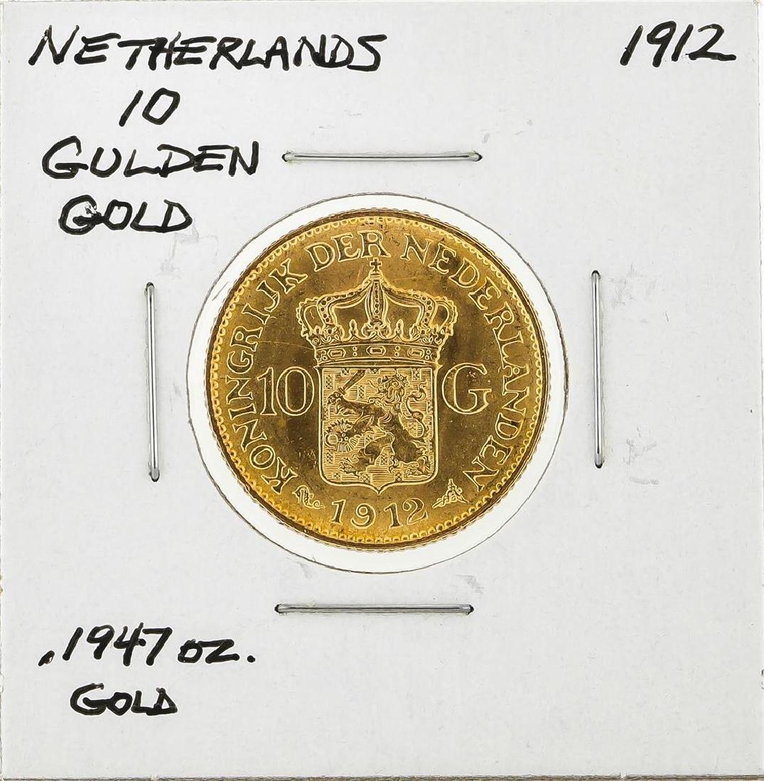 1912 Netherlands 10 Goulden Gold Coin