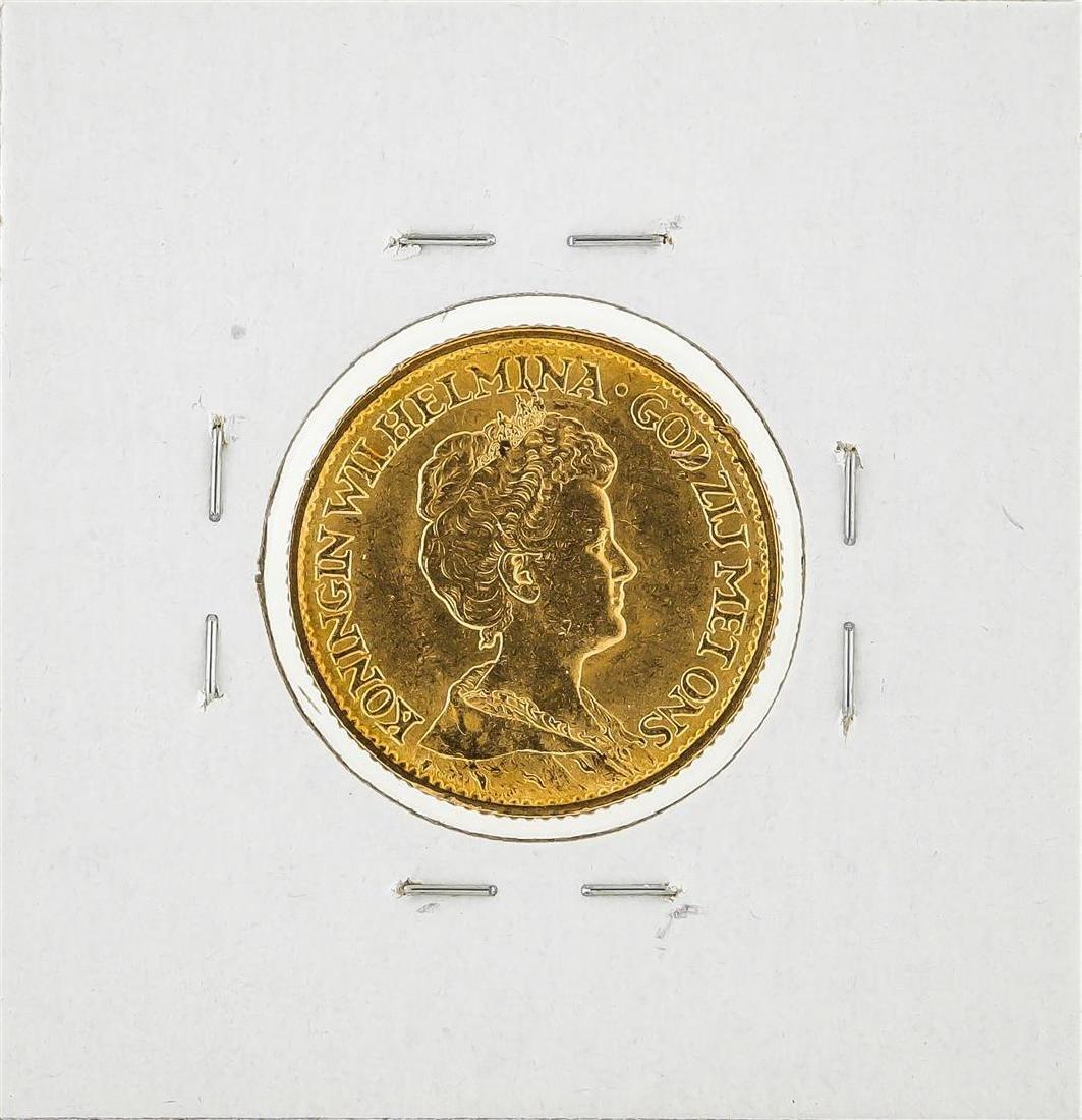 1912 Netherlands 10 Goulden Gold Coin - 2