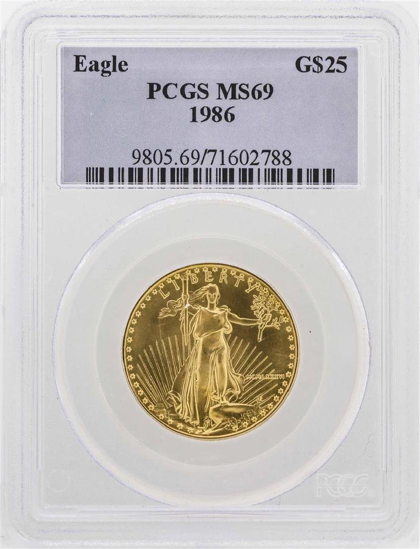 1986 $25 American Gold Eagle Coin PCGS MS69