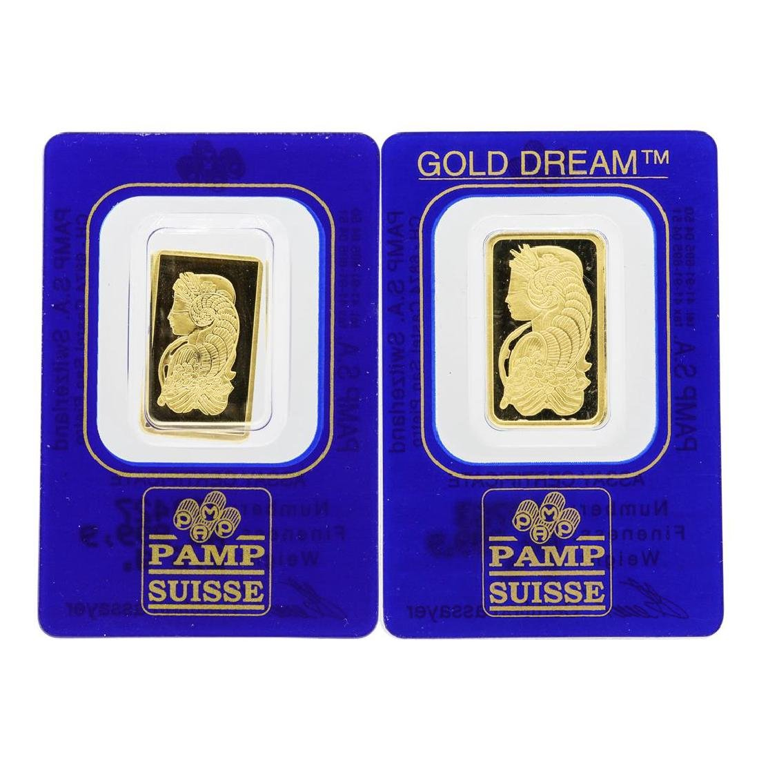 Lot of 2.5 & 5 gram PAMP Suisse .9999 Fine Gold Ingot