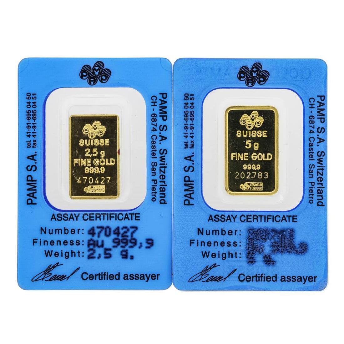 Lot of 2.5 & 5 gram PAMP Suisse .9999 Fine Gold Ingot - 2