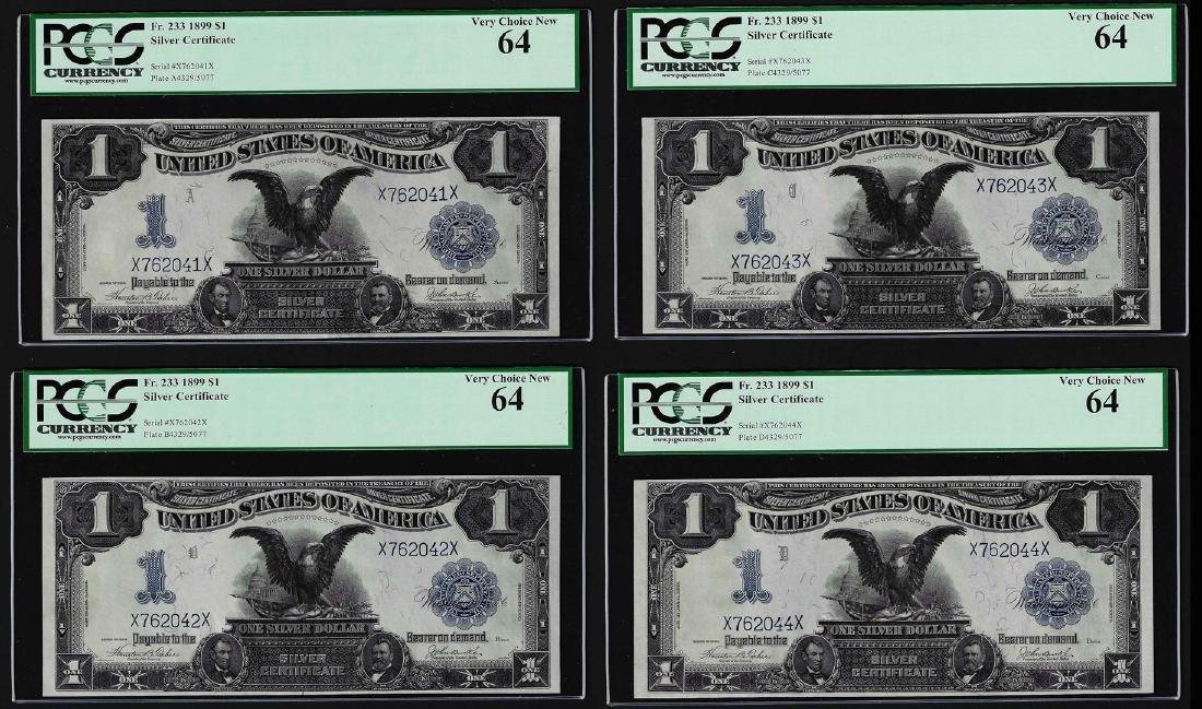 Cut Sheet of (4) 1899 $1 Black Eagle Silver Certificate