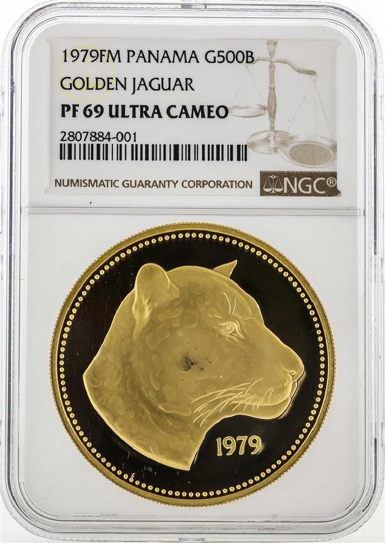 1979FM Panama 500 Balboas Golden Jaguar Coin NGC PF70