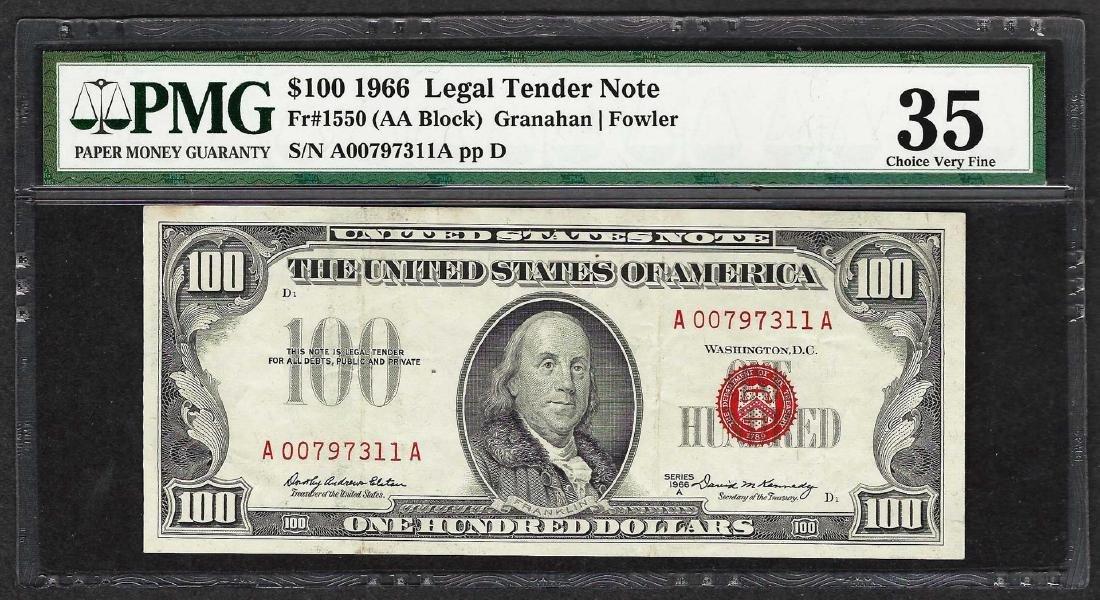 1966 $100 Legal Tender Note Fr.1550 PMG Very Fine 35