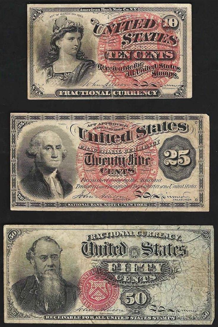 Set of March 3, 1863 10/25/50 Cent 4th Issue Fractional