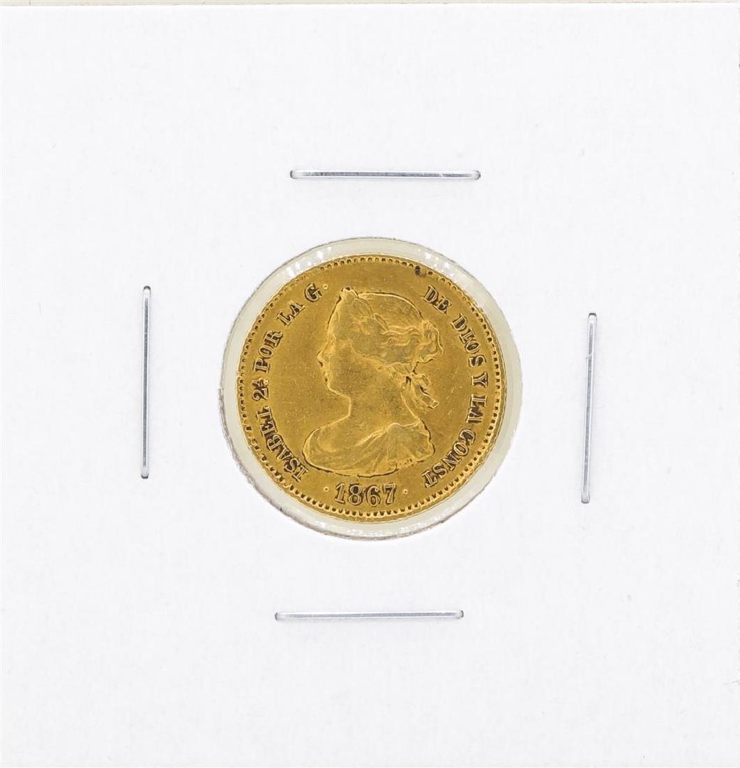 1867 Spain 4 Escudos Gold Coin
