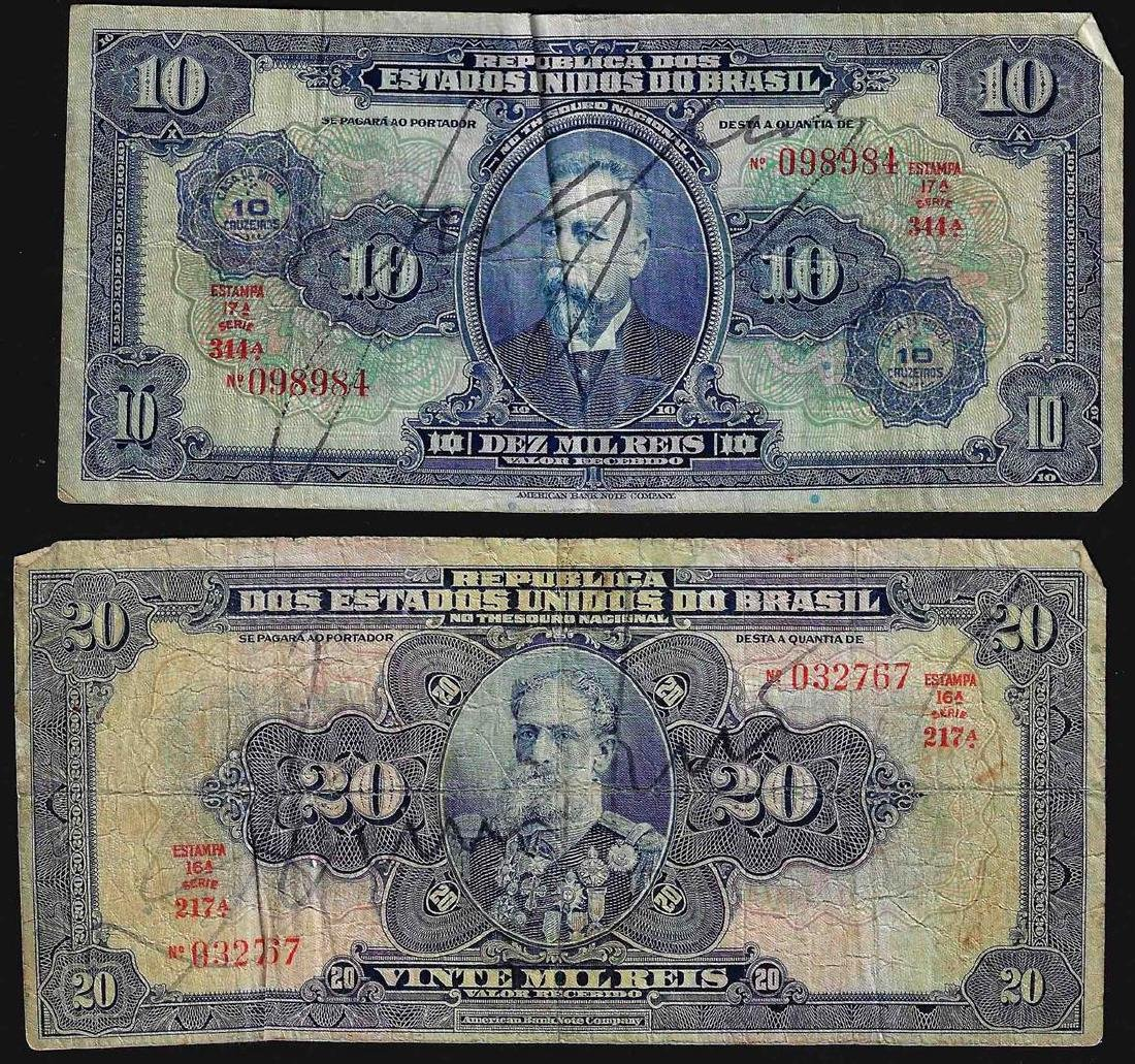 Set of (2) $10, $20 Republica Dos Estados Unidos Do