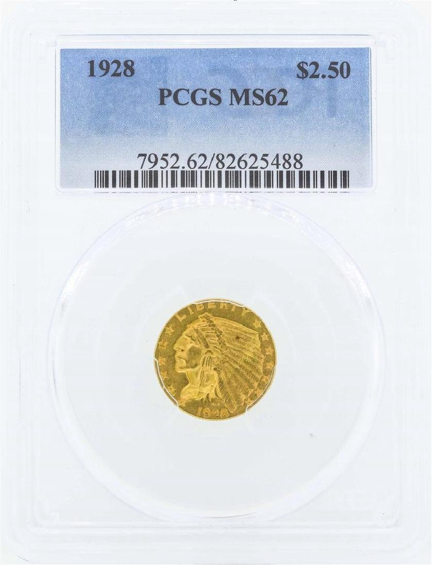 1928 $2 1/2 Indian Head Quarter Eagle Gold Coin PCGS