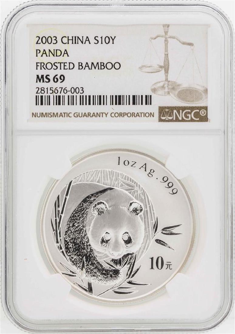 2003 China 10 Yuan Panda Silver Coin NGC MS69