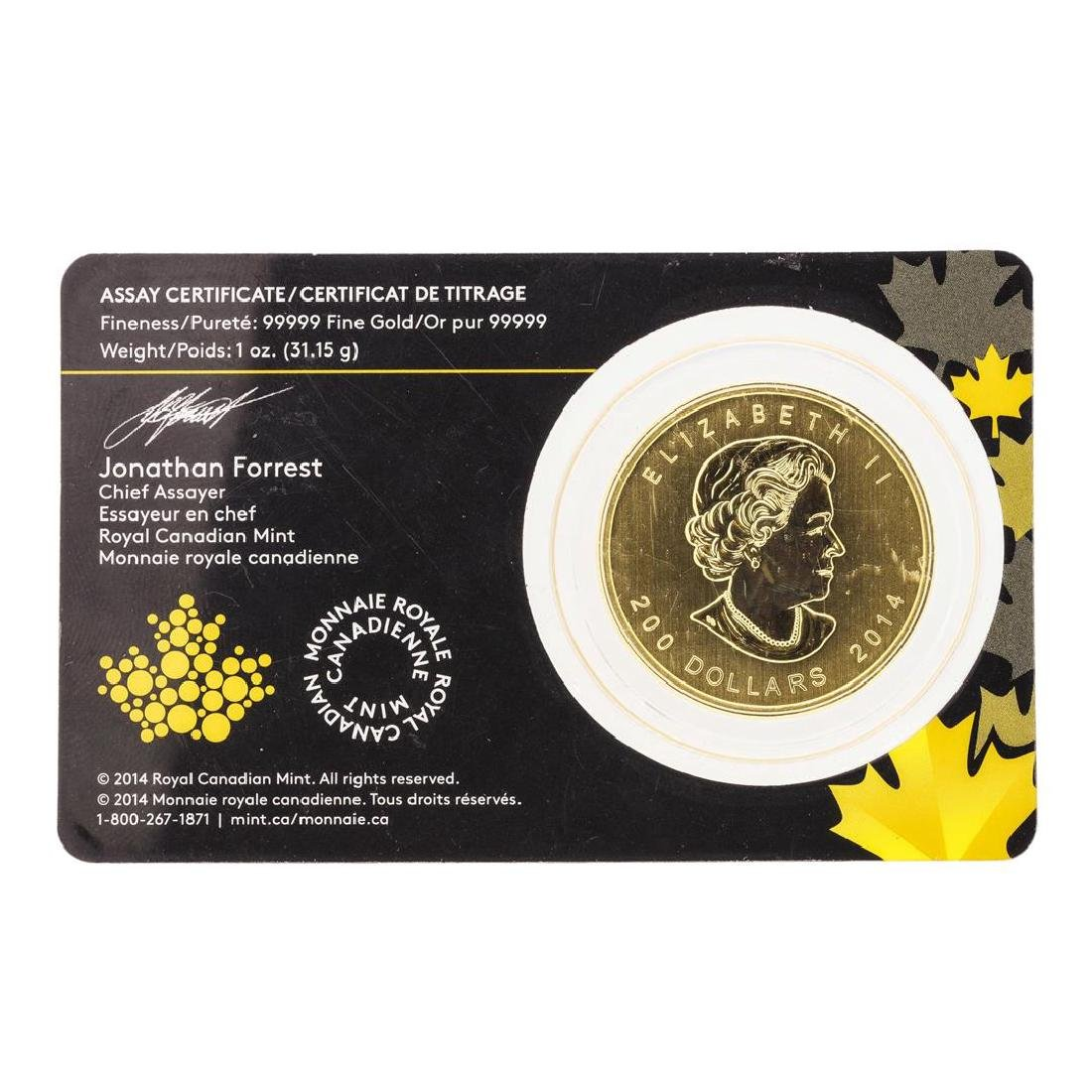 2014 $200 Canada Howling Wolf Gold Coin - 2