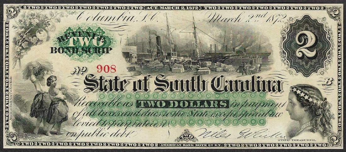 1872 $2 State of South Carolina Obsolete Bank Note