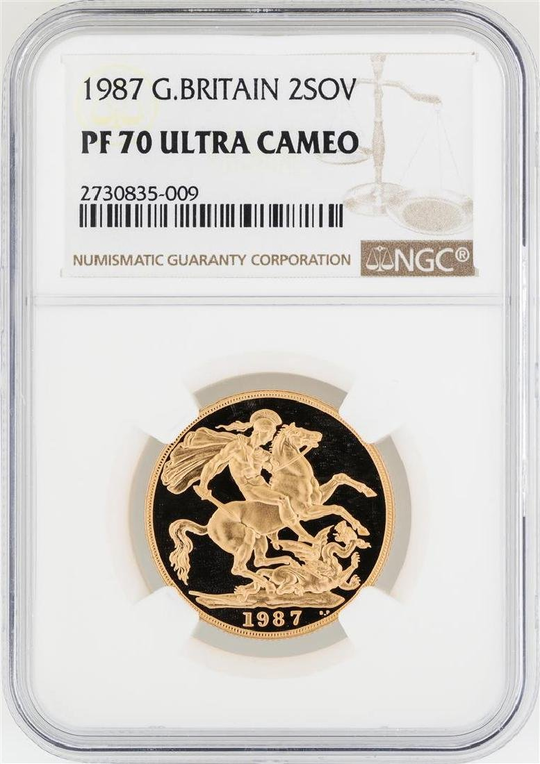 1987 Great Britain 2 Sovereign Gold Coin NGC PF70 Ultra
