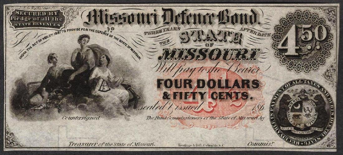 1860's $4 The State of Missouri Defence Bond Obsolete