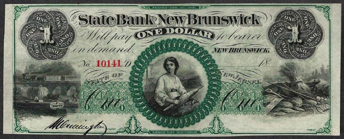 1800's $1 State Bank at New Brunswick Obsolete Note