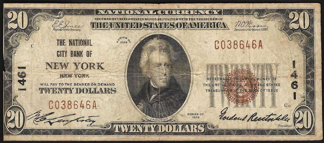 1929 $20 National City Bank of New York NY National