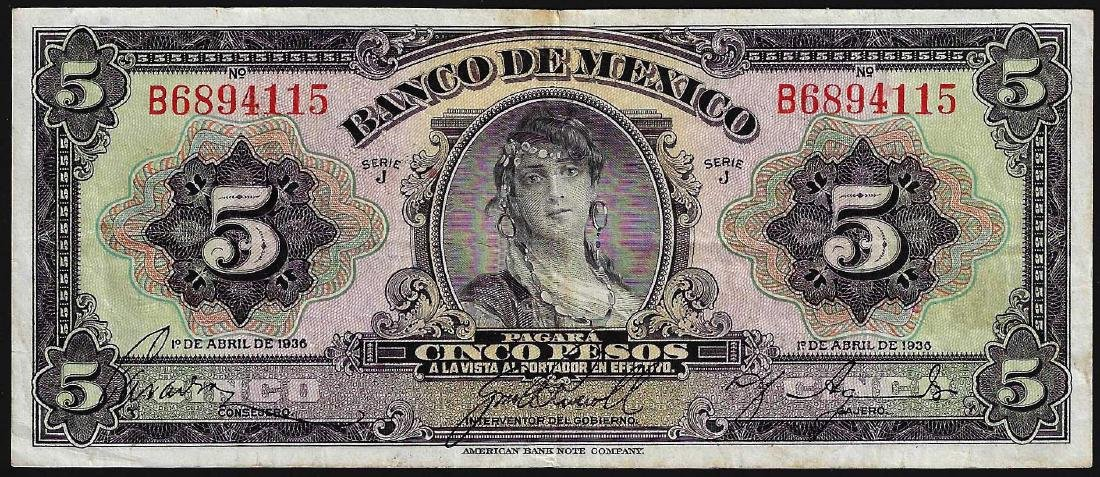 1936 5 Pesos Banco De Mexico Bank Note