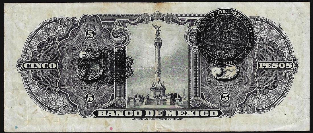 1936 5 Pesos Banco De Mexico Bank Note - 2