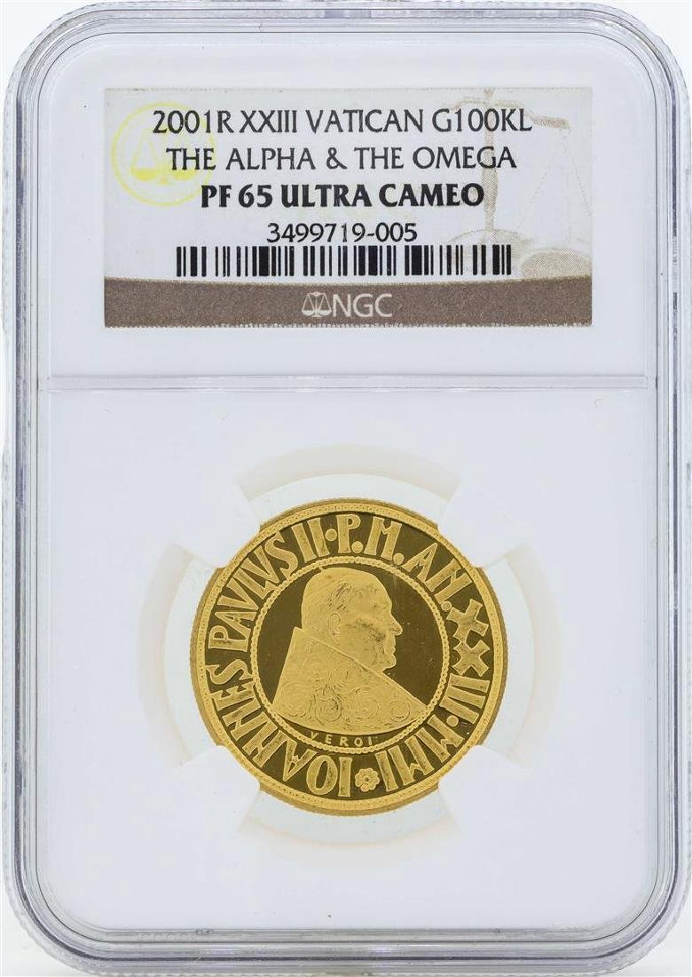 2001R XXIII Vatican 100 Lire Proof Gold Coin NGC PF65