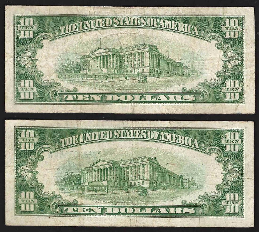 Lot of (2) 1934D $10 Silver Certificate Notes - 2