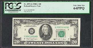 1988A 20 Federal Reserve Note Fr2076G PCGS Gem New