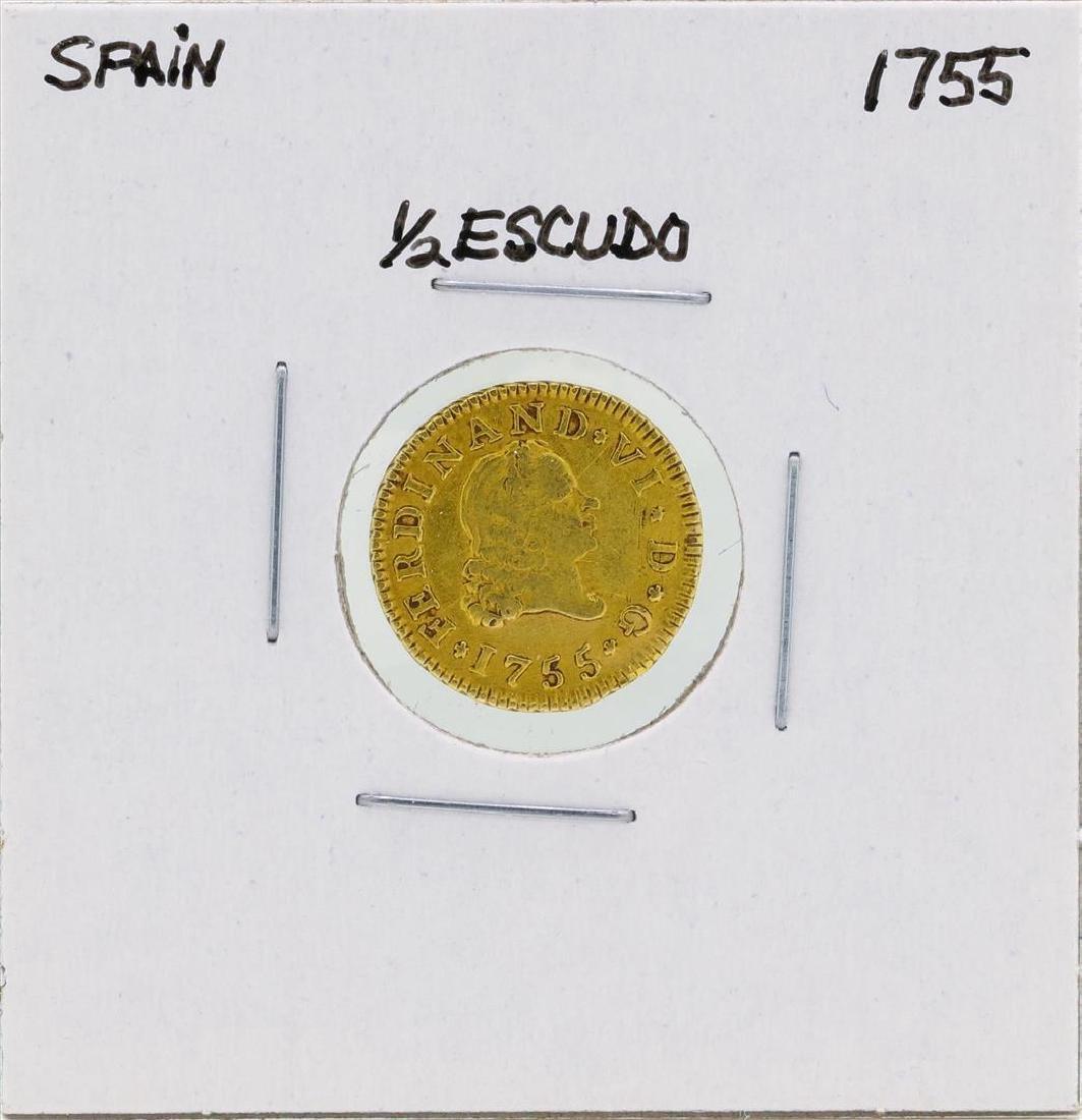 1755 Ferdinand VI Spanish 1/2 Escudos Gold Coin